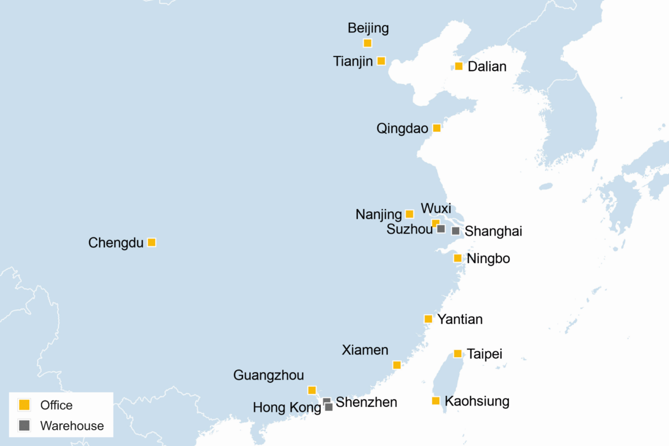China Karte Hongkong.Greater China Rhenus Logistics