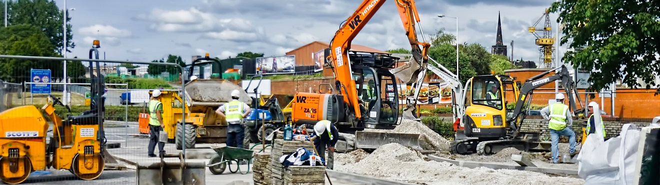 Rhenus Construction Business - Digger at bulding site