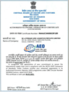 AEO Certificate for Streamline Logistics India